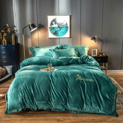 2019新款水晶绒四件套 1.5-1.8m床单款 湖蓝色