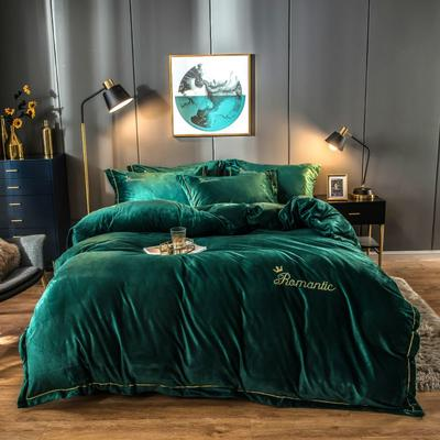 2019新款水晶绒四件套 1.5-1.8m床单款 孔雀绿