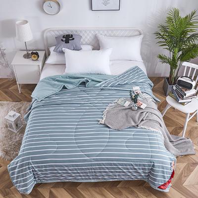 2019新款-水洗棉良品风夏被 150x200cm 条纹 绿
