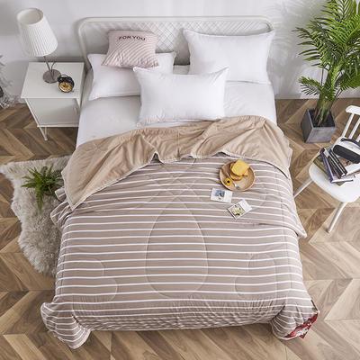 2019新款-水洗棉良品风夏被 150x200cm 条纹 棕