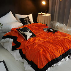 时尚花边毛毯 1.5*2.3M 活力橙