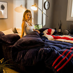 2018品乐家纺 运动风220g法莱绒加厚保暖四件套 特价 标准(1.5m床/1.8m床) 品味人生