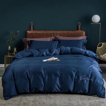 2019全棉60S长绒棉刺绣系列四件套 1.5m(5英尺)床 绅士蓝