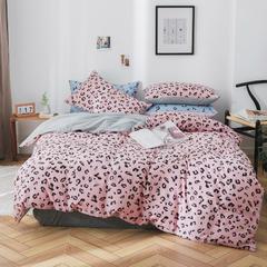 2019新款纯棉简约款四件套 1.2m(4英尺)床 豹纹-粉色