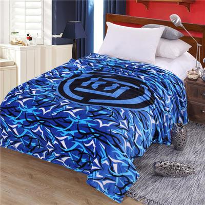 雪貂绒定位毯(每平方280克)毛毯毯子 150*200 蓝潮