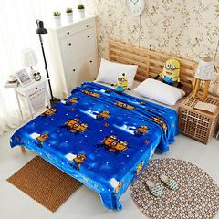 沐恩毯业 云貂绒(每平方380克)毛毯毯子 120*200 小黄人