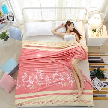 2018法莱绒(每平方200克)模特图毛毯毯子 120*200 花香