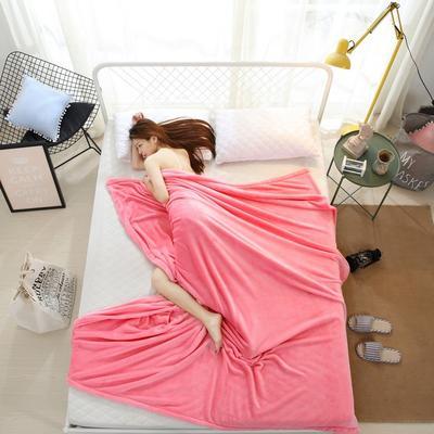 2018云貂绒纯色(每平方320克)模特图毛毯毯子 100*150 粉色