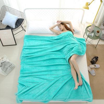 2018云貂绒纯色(每平方320克)模特图毛毯毯子 200*230 水绿
