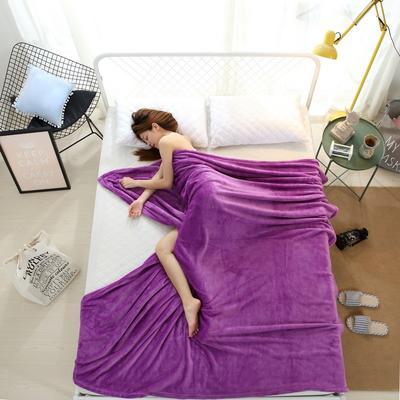 2018云貂绒纯色(每平方320克)模特图毛毯毯子 200*230 紫色