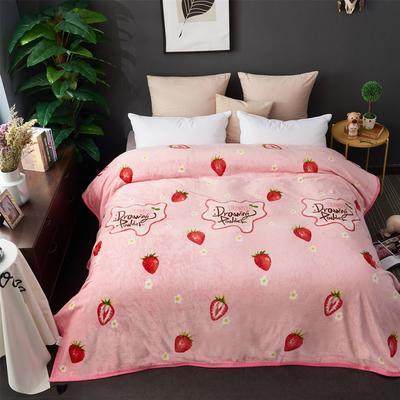 2018新款-云貂绒毛毯毯子 180*200cm 草莓