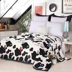 2018新款-云貂绒毛毯毯子 200*230cm 多彩奶牛