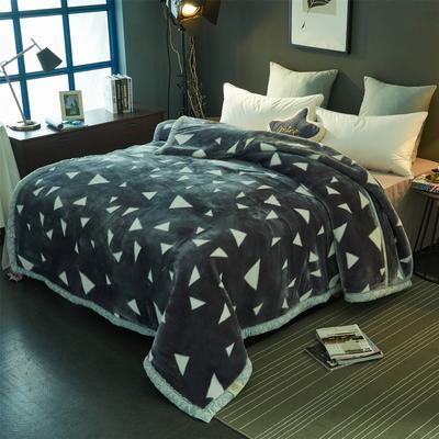 2018新款-拉舍尔毛毯毯子 150*200cm4斤 小三角灰