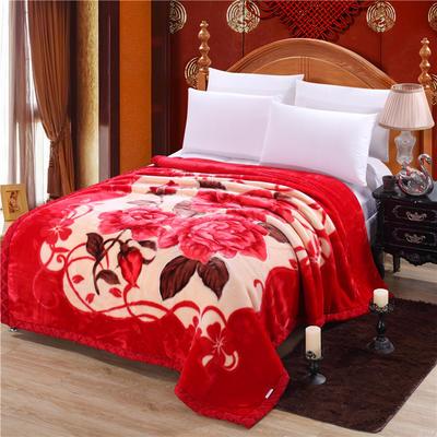 2018新款-拉舍尔毛毯毯子 150*200cm4斤 百年好合
