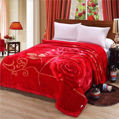 2018新款-拉舍尔毛毯毯子 150*200cm4斤 富贵花开