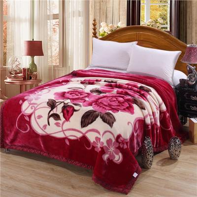 2018新款-拉舍尔毛毯毯子 150*200cm4斤 幸福花开