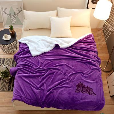 2018新款-羊羔绒毛毯 100*150CM 羊羔绒+紫色