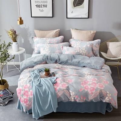 2018新款-230克6D雕花绒四件套 2.0m(6.6英尺)床(含包装) 幸福花开蓝
