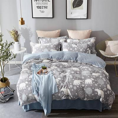 2018新款-230克6D雕花绒四件套 1.5m(5英尺)床(含包装) 熊出没