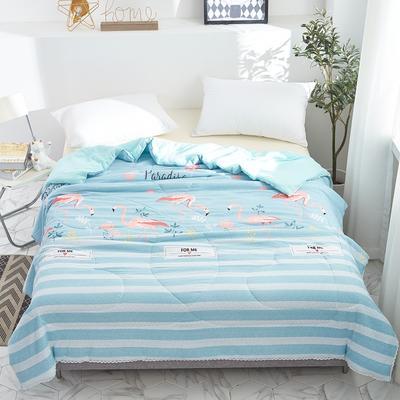 2019新款-小花边水洗棉夏被 150x200cm 热带风情蓝