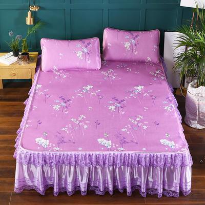 2019新款印花床裙款冰丝席 150*200CM 一枝独秀紫