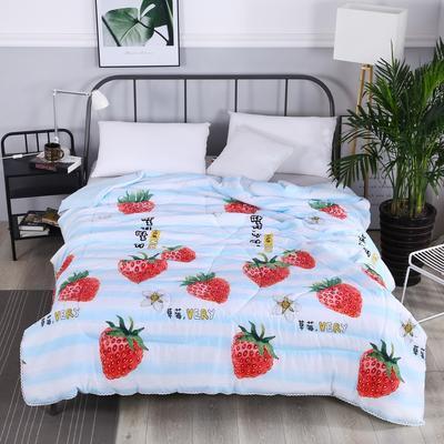 2019新款-小花边水洗棉夏被 180x220cm 草莓