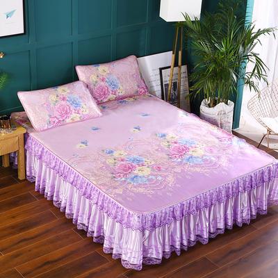 2020新款印花床裙款冰丝席 150*200cm 花香萦绕紫
