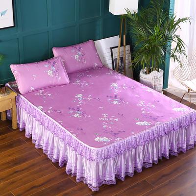 2020新款印花床裙款冰丝席 150*200cm 一枝独秀紫