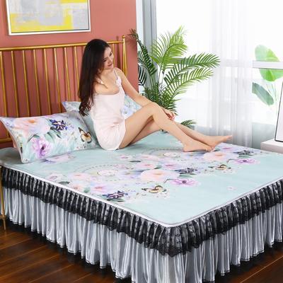 2020新款可水洗床裙冰丝席 150*220CM 可拆卸 花海绿