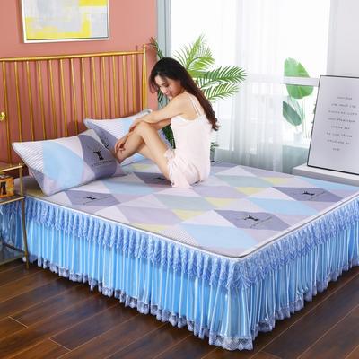 2020新款可水洗床裙冰丝席 150*220CM 可拆卸 青春