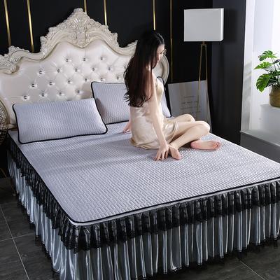 2020新款冰感丝乳胶凉席床裙可拆洗 90*200cm 灰色