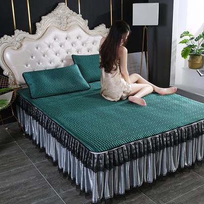 2020新款冰感丝乳胶凉席床裙可拆洗 90*200cm 墨绿