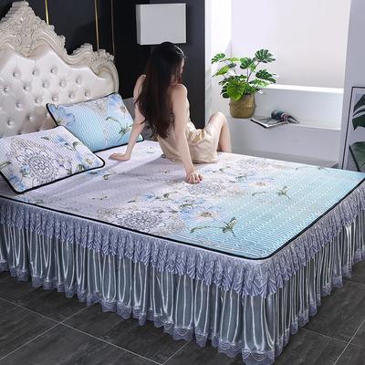 2020新款冰感丝乳胶凉席床裙可拆洗 90*200cm 中国结