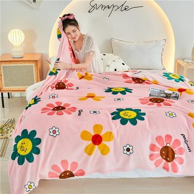 2020新款法莱绒毛毯 150*200cm 太阳花粉