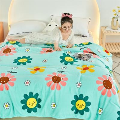 2020新款法莱绒毛毯 150*200cm 太阳花绿
