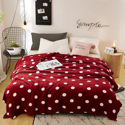 2020新款法莱绒毛毯 150*200cm 圆点红