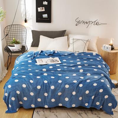 2020新款法莱绒毛毯 150*200cm 圆点蓝