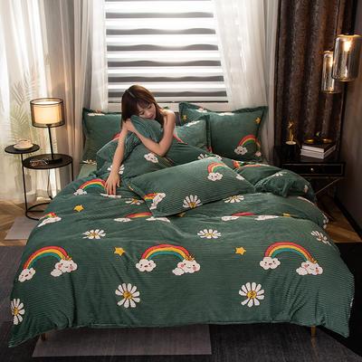 2020新款180g双面魔法绒四件套-模特图 1.8m床单款四件套 彩虹