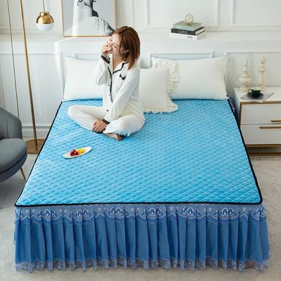 2020新款法莱绒夹棉床裙 120*200cm 蓝色