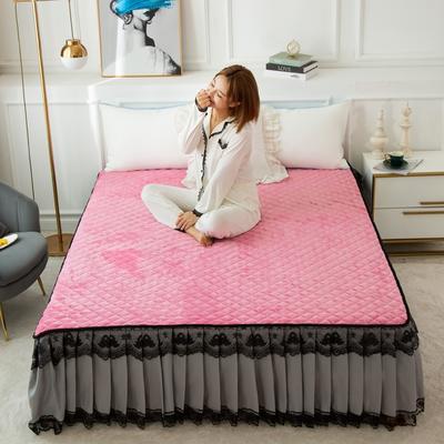 2020新款法莱绒夹棉床裙 120*200cm 玫红