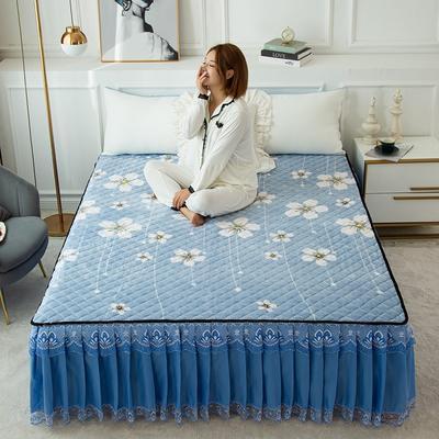 2020新款法莱绒夹棉床裙 120*200cm 蓝色小花