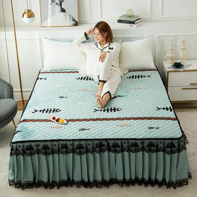 2020新款法莱绒夹棉床裙 120*200cm 年年有鱼