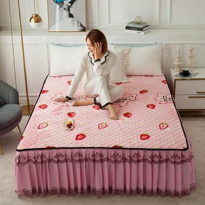 2020新款法莱绒夹棉床裙 120*200cm 甜心