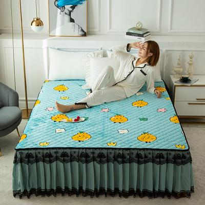 2020新款法莱绒夹棉床裙 90*200cm 小橘子