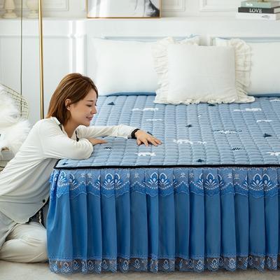 2020新款磨毛夹棉床裙 90*200cm 亲子象 蓝