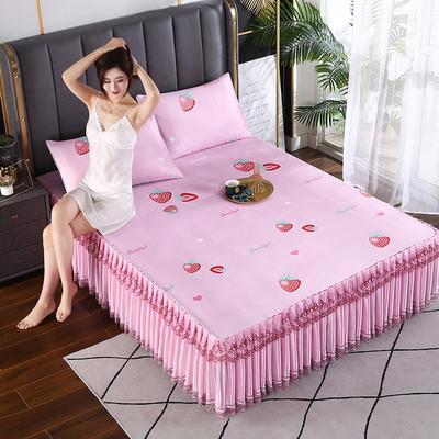 2021新款床裙款冰丝席凉席 180*200CM 草莓