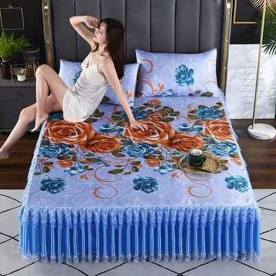 2021新款床裙款冰丝席凉席 180*200CM 牡丹蓝