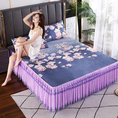 2021新款床裙款冰丝席凉席 180*200CM 紫韵