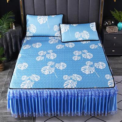 2021新款乳胶凉席床裙 180*200cm(三件套) 蓝叶