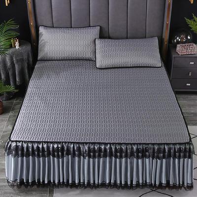2021新款乳胶凉席床裙 180*200cm(三件套) 银灰